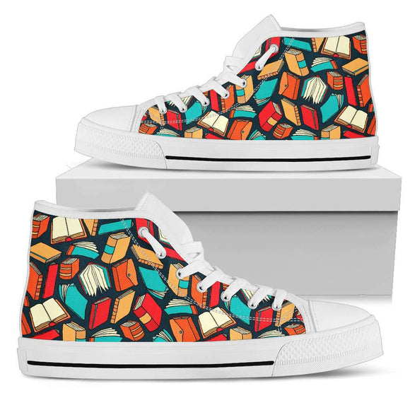 Book Lover's White High Tops Canvas Shoes - GreatGiftItems.com