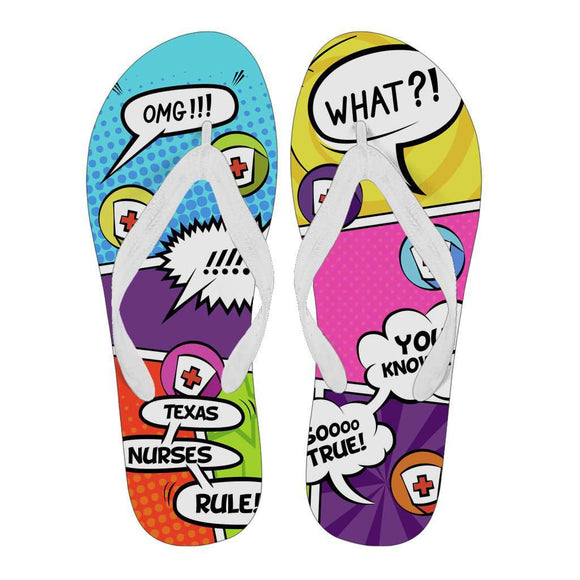 Lady's Comic Book Texas Nurse Flip Flops