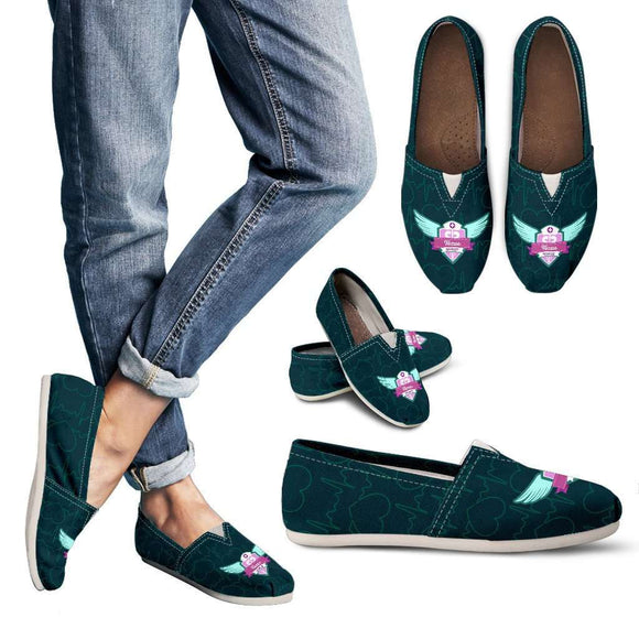 Lady's Green Texas Nurse Casual Canvas Shoes