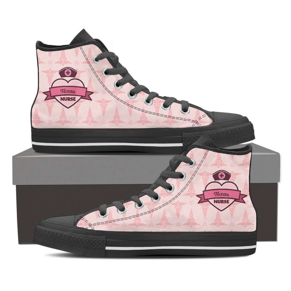 Men's Pink Texas Nurse Canvas High Tops