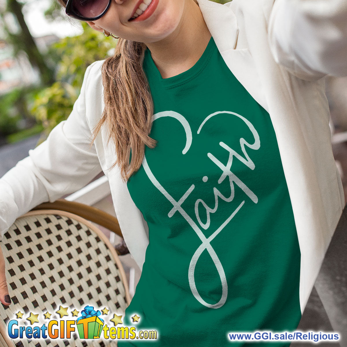 Faith In A Heart Solid Color T-Shirt