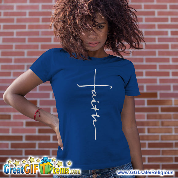 Faith In A Cross Solid Color T-Shirt