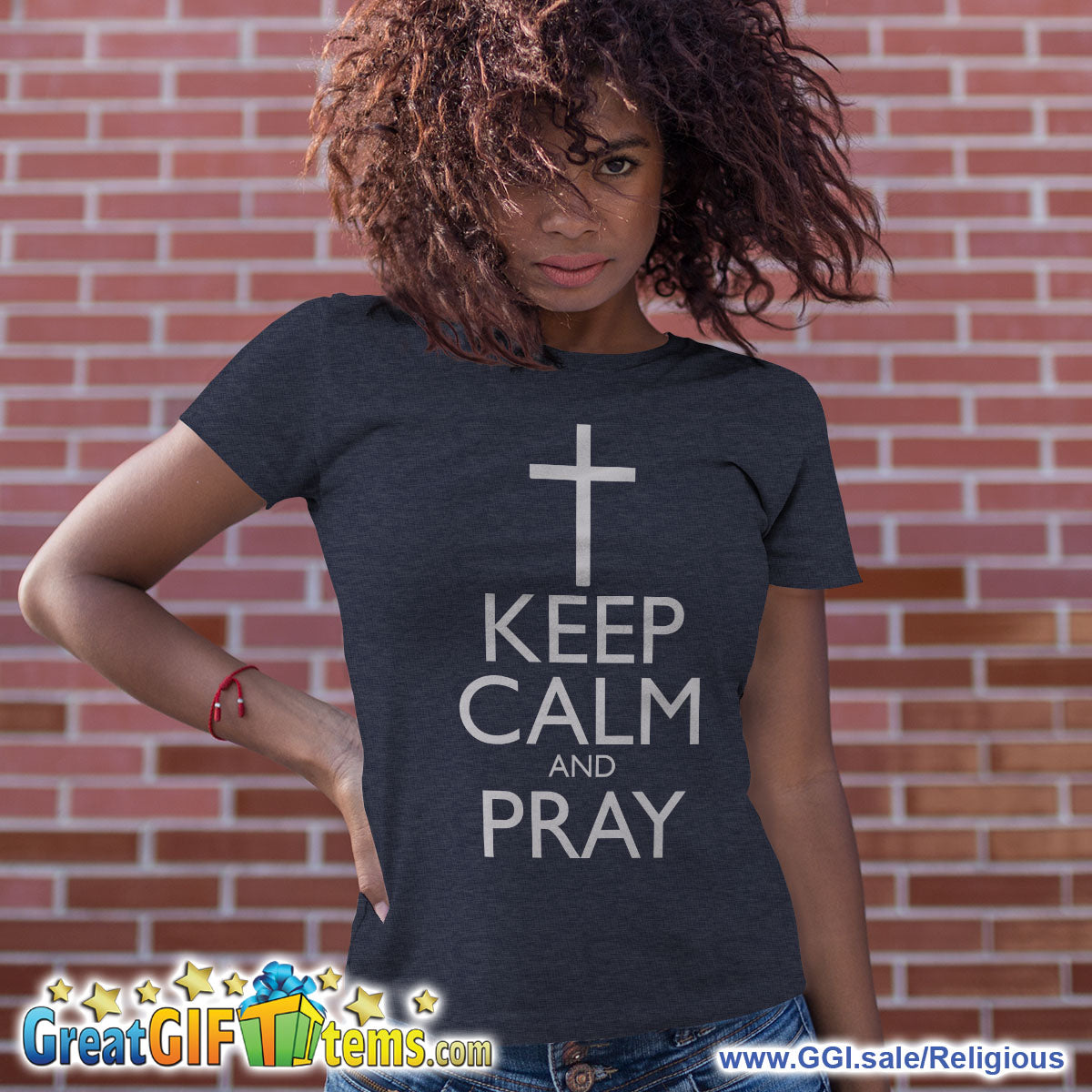 Keep Calm And Pray Heather Color T-Shirt