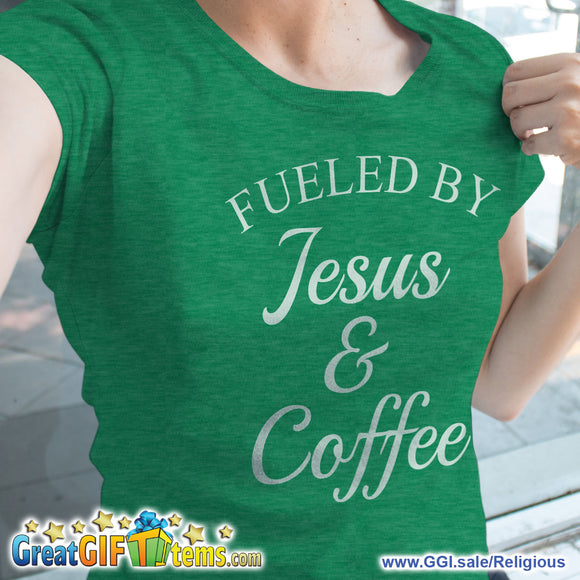 Fueled By Jesus & Coffee Heather Color T-Shirt