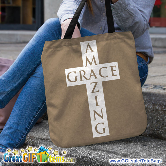 Amazing Grace Christian Canvas Tote Bag