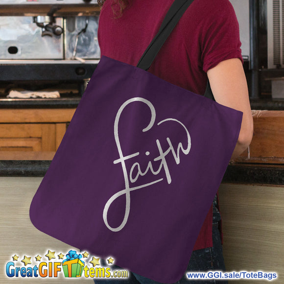 Faith Canvas Tote Bag For Travel And Errands