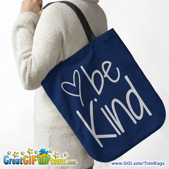 Be Kind Canvas Tote Bag - Great For Grocery Shopping