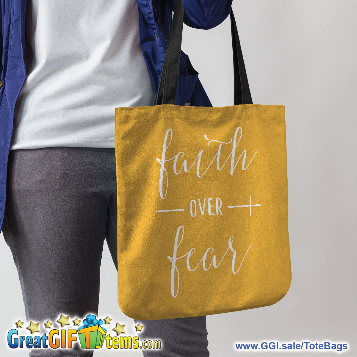 Faith Over Fear Canvas Tote Bag