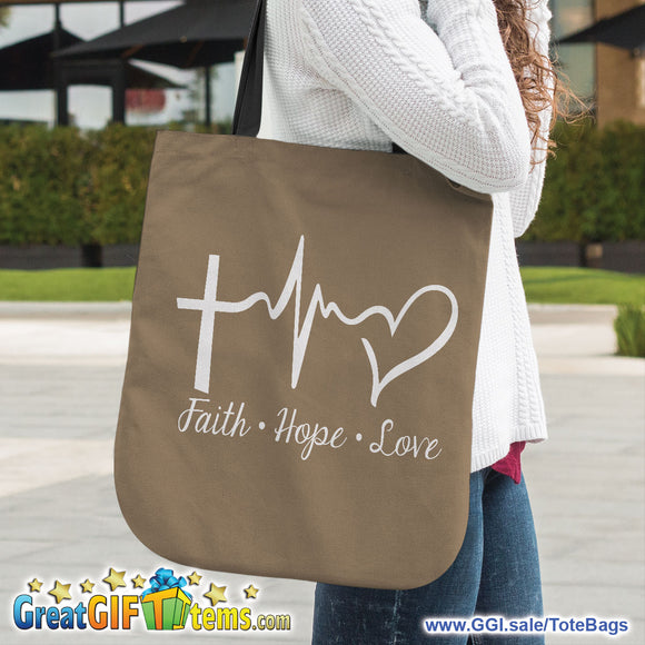 Faith Hope Love Canvas Tote Bag - 65% OFF