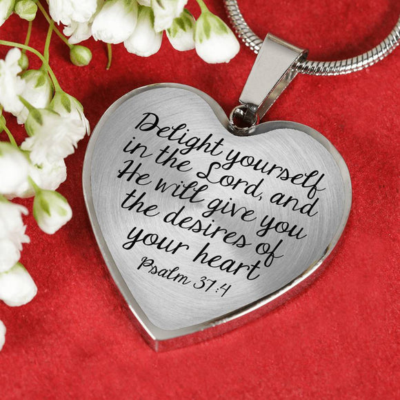 Delight Yourself In The Lord, And He Will Give You The Desires Of Your Heart Snake Chain Necklace With Pendant