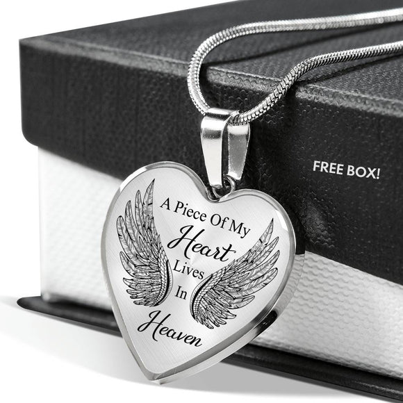 A Pierce Of My Heart Lives In Heaven Heart Necklace