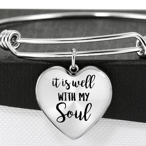 It Is Well With My Soul Bangle Bracelet With Heart Pendant