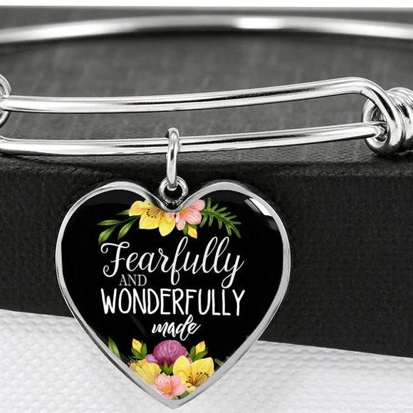 Fearfully And Wonderfully Made Bangle Bracelet With Pendant
