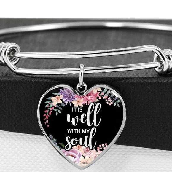 It Is Well With My Soul Surgical Steel Bangle Bracelet With Heart Pendant
