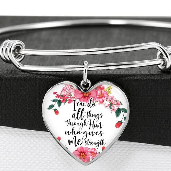 I Can Do All Things Through Him Who Gives Me Strength Bangle Bracelet With Pendant