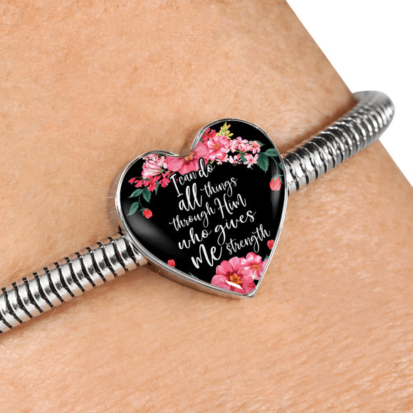 I Can Do All Things Through Him Who Gives Me Strength Snake Chain Bracelet With Pendant