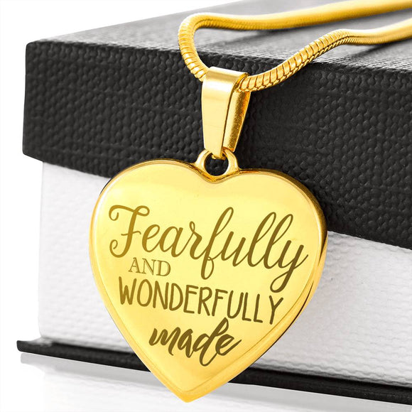 Fearfully And Wonderfully Made Laser Engraved Necklace With Pendant