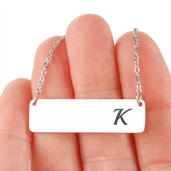 Silver Or 18k Gold Horizontal Bar Necklace - K
