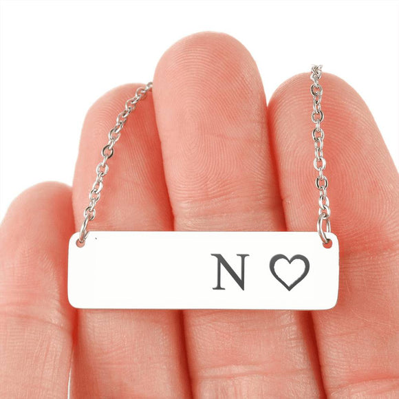 Personalized Necklace With Horizontal Bar 18K Gold - N