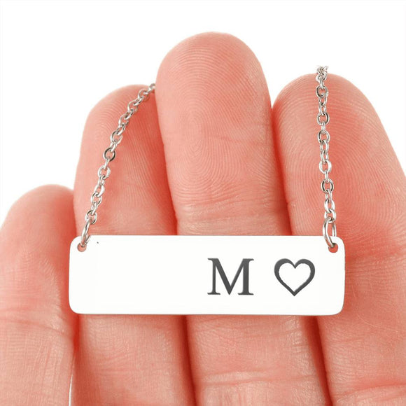 Personalized Necklace With Horizontal Bar 18K Gold - M