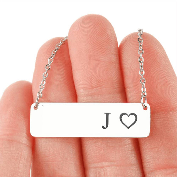 Personalized Necklace With Horizontal Bar 18K Gold - J