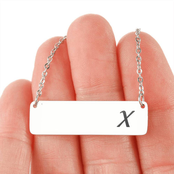 Silver Or 18k Gold Horizontal Bar Necklace - X