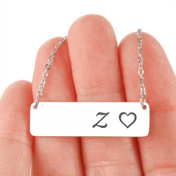 Silver Or 18k Gold Necklace With Horizontal Bar - Z