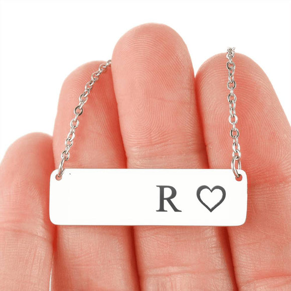 Personalized Necklace With Horizontal Bar 18K Gold - R