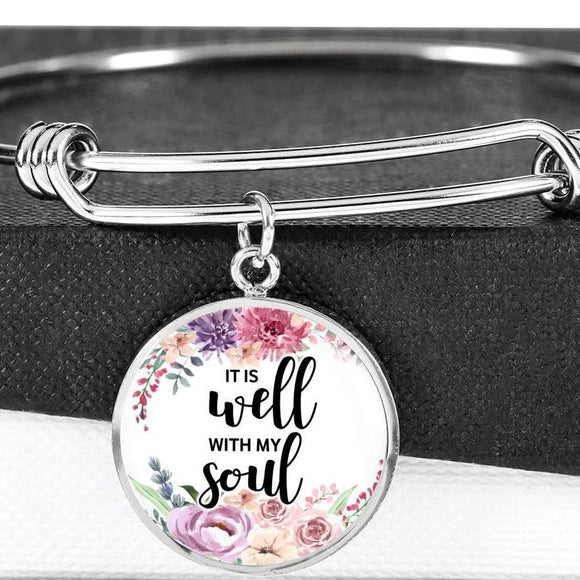 It Is Well With My Soul Surgical Steel Bangle Bracelet With Pendant