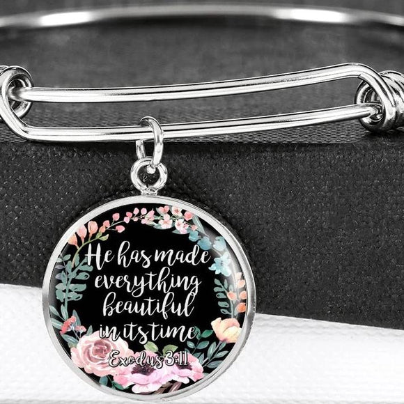 He Has Made Everything Beautiful In Its Time Bangle Bracelet With Pendant