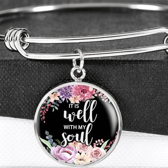 It Is Well With My Soul Bangle Bracelet With Pendant
