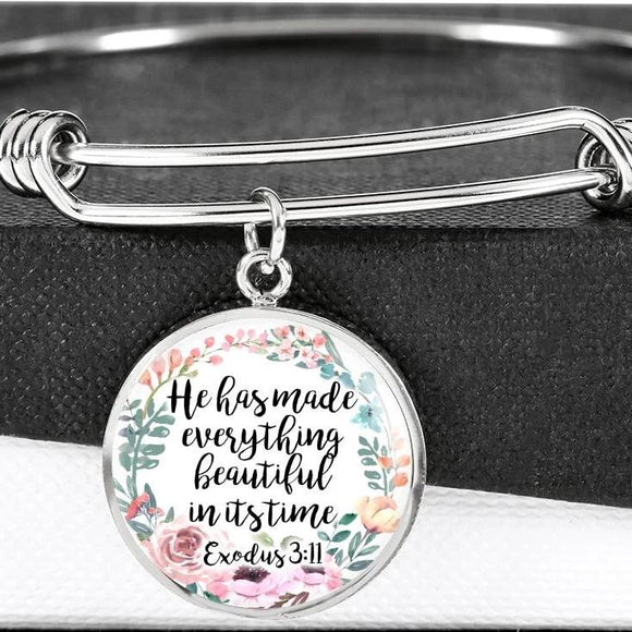 He Has Made Everything Beautiful In Its Time Exodus 3:11 Bangle Bracelet