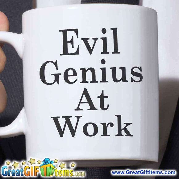 Evil Genius At Work Unique Coffee Mug - GreatGiftItems.com
