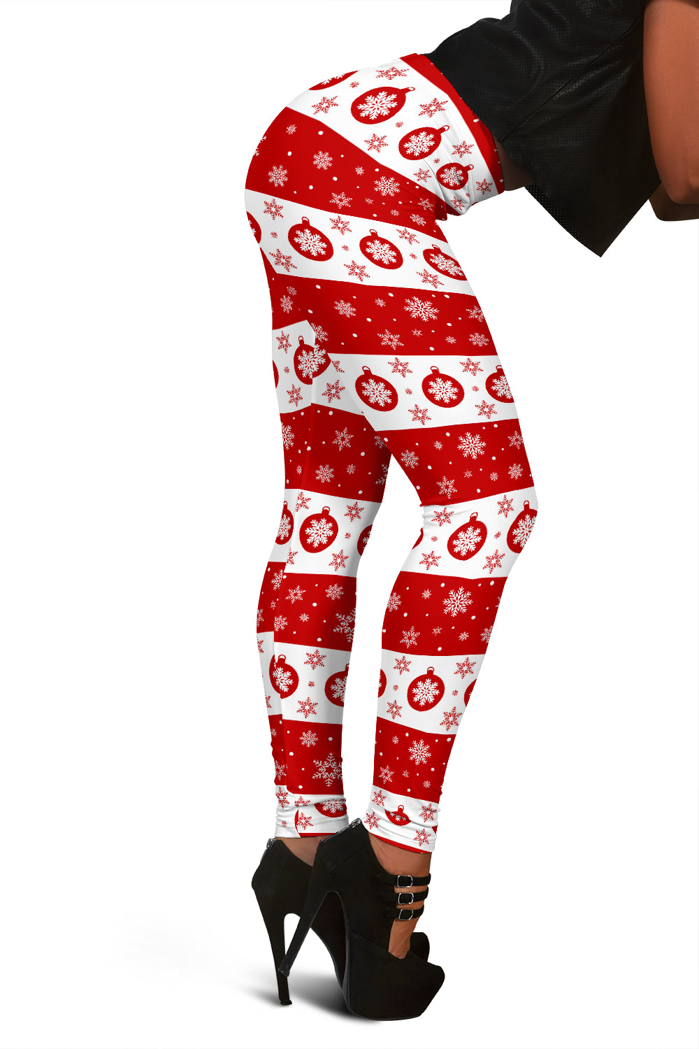 Ugly Christmas Leggings With Snowflakes & Christmas Ornaments