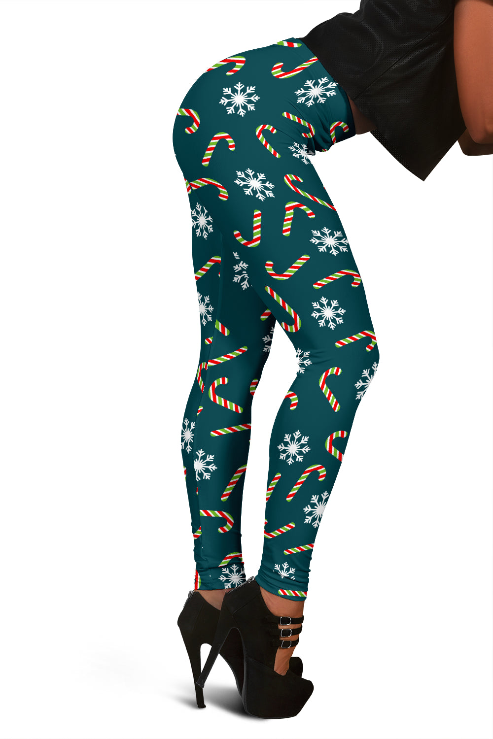 Teal Christmas Leggings For Women With Candy Cains & Snowflakes