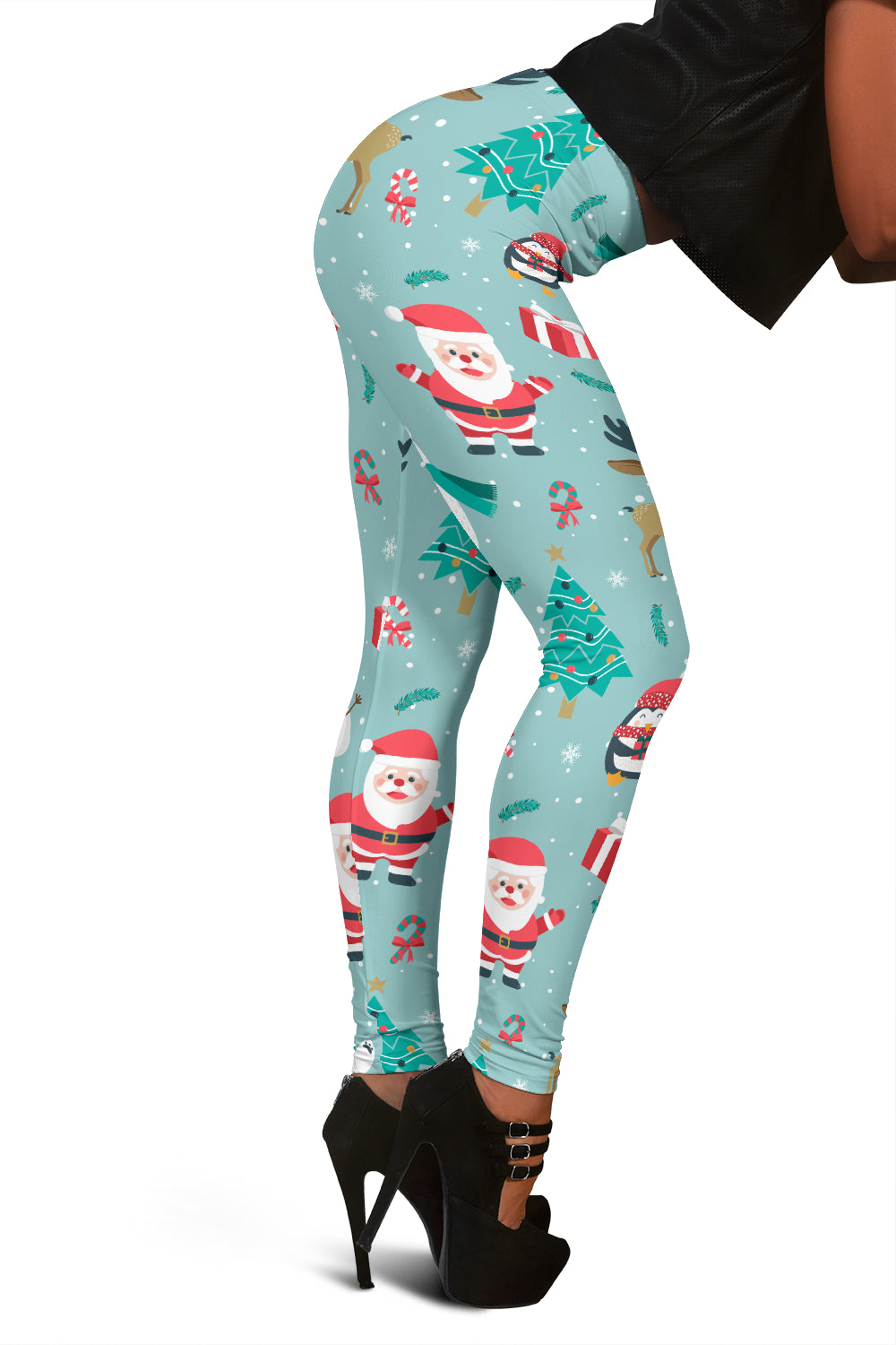 Women's Christmas Leggings With Santa And The Penguin