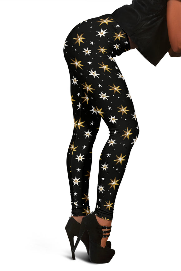 Black Christmas Leggings With White and Golden Stars