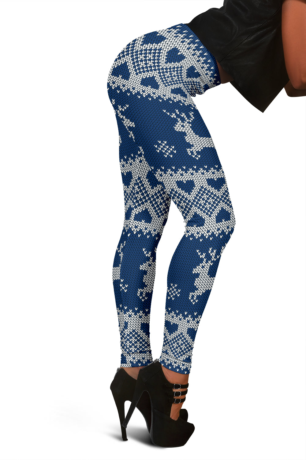 Blue Ugly Christmas Leggings With Reindeer And Hearts