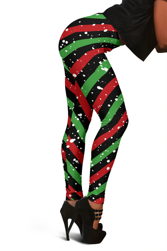 Christmas Candy Red Green Black Leggings
