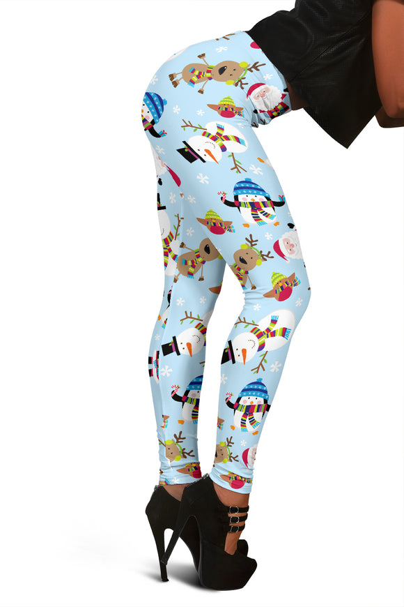 Women's Christmas Leggings With Snowmen, Reindeer And Santa Clause