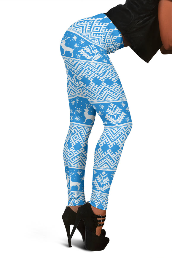 Blue Ugly Christmas Leggings With Reindeer & Christmas Trees