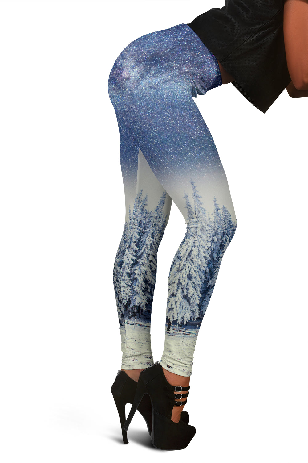 Women's Christmas Leggings With Snow Covered Mountains And Trees