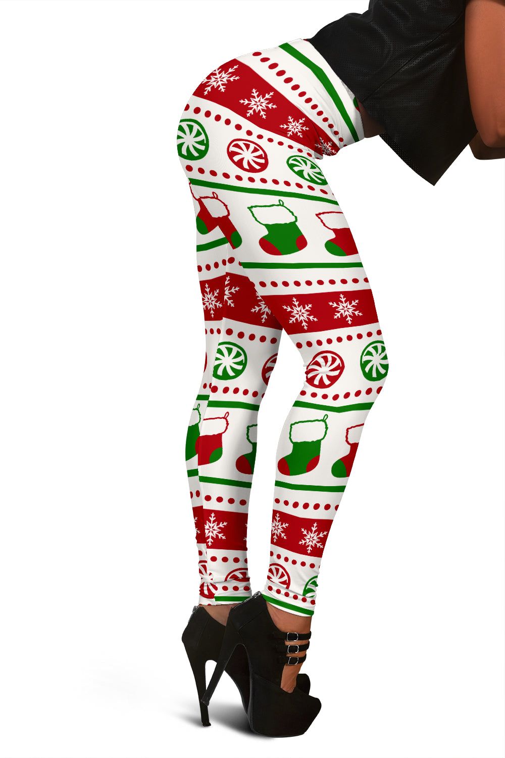 Ugly Christmas Leggings With Snowflakes Candy & Stockings