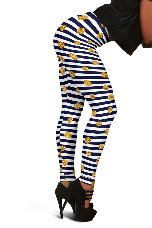 Women's Christmas Leggings With Stripes And Golden Polka-Dots