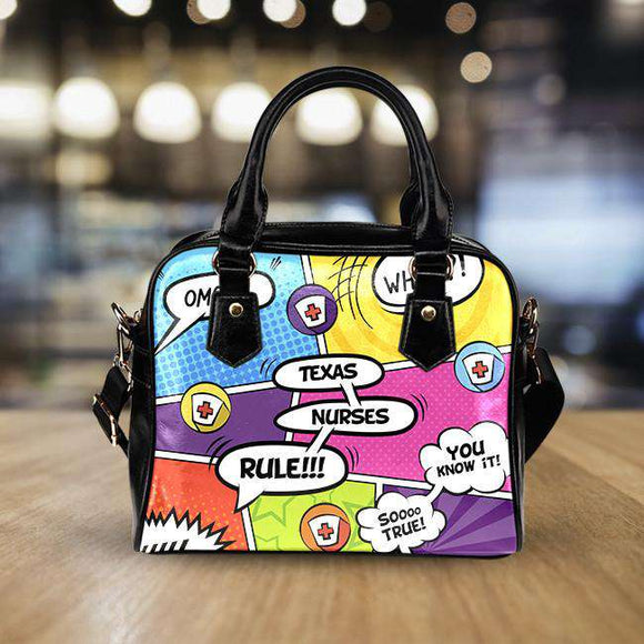 Comic Book Texas Nurse Black Leather Shoulder Handbag - GreatGiftItems.com