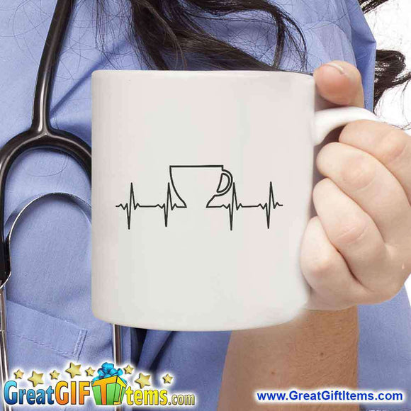 Heart Beat Novelty Coffee Mug - GreatGiftItems.com