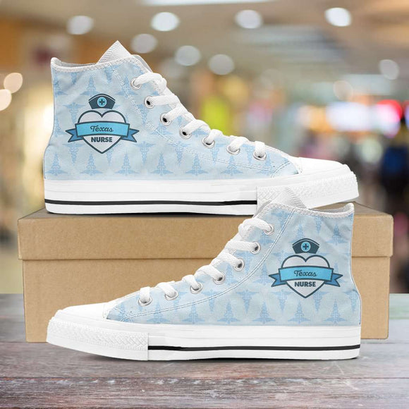 Lady's Blue Texas Nurse Canvas High Tops