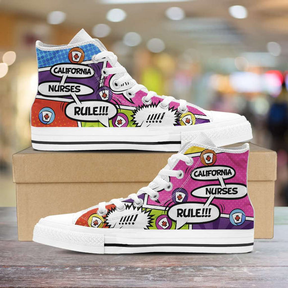 Lady's Comic Book California Nurse Canvas High Tops