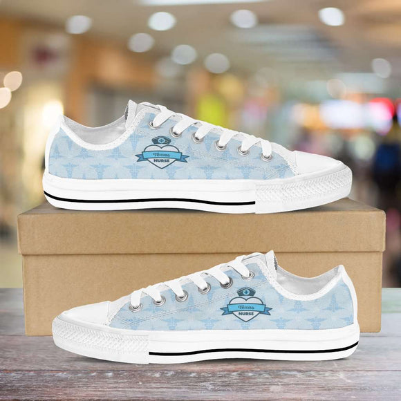 Lady's Blue Texas Nurse Canvas Low Tops