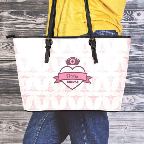 Pink Large Texas Nurse Leather Tote Bag